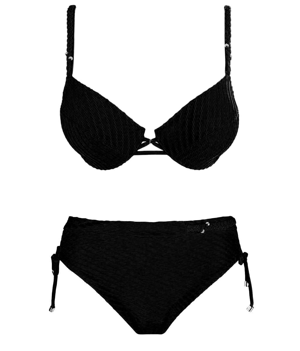 Lise Charmel 'Chic Tressage' (Noir) Underwired Bikini - Sandra Dee - Product Shot - Front
