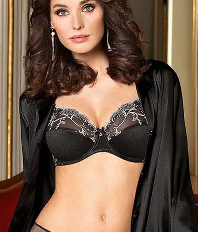 Lise Charmel 'Splendeur Soie' (Splendeur Noir) 3 Part Full Cup Bra - Sandra Dee - Model Shot - Front