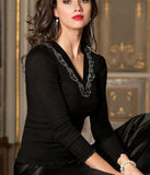 Lise Charmel 'Splendeur Soie' (Splendeur Noir) Long Sleeved Top - Sandra Dee - Model Shot - Front