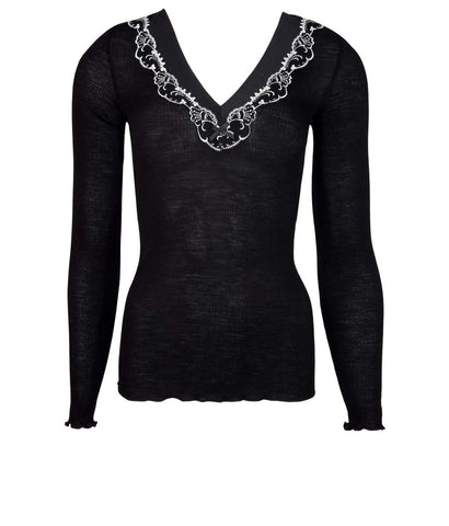 Lise Charmel 'Splendeur Soie' (Splendeur Noir) Long Sleeved Top - Sandra Dee - Product Shot - Front