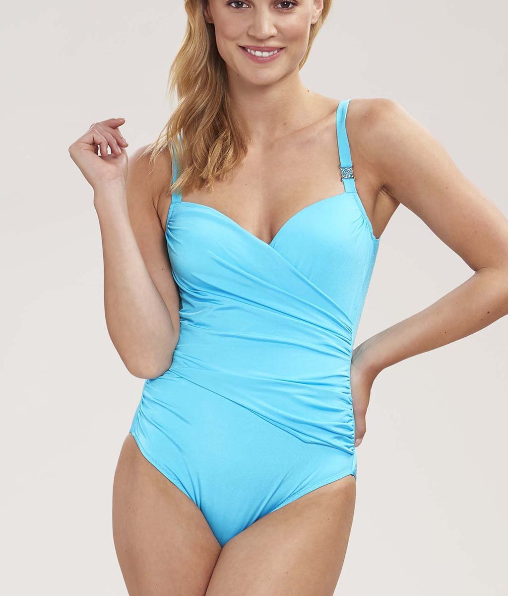 Louis Féraud 'Beach' (Turquoise) Padded Swimsuit - Sandra Dee - Model Shot - Front