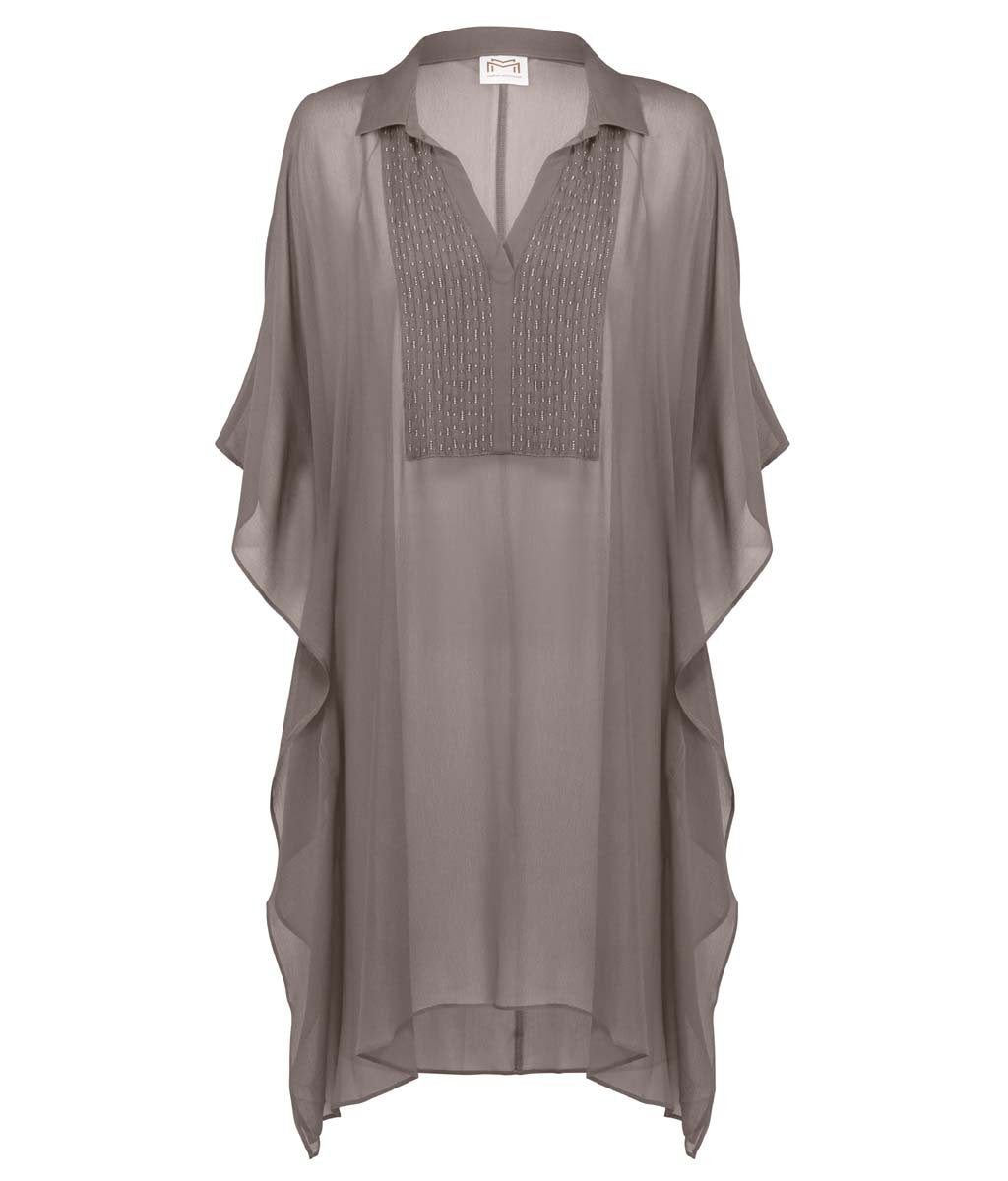 Maryan Mehlhorn 'Allure' (Taupe Cristal) Kaftan (Tunic) - Sandra Dee - Product Shot - Front