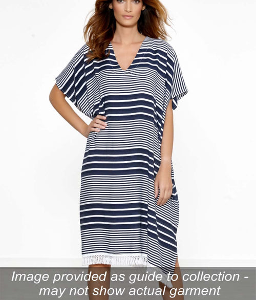 Maryan Mehlhorn 'Cover Up' (Blue-White) Kaftan - Sandra Dee - Collection Publicity Shot