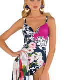 Roidal 'Flor Barock' Padded Underwired Plunge Swimsuit - Sandra Dee - Model Shot - Front