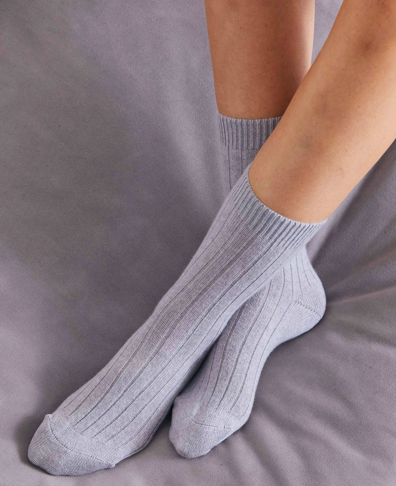 British Boxers Tabitha Cashmere Bed Socks - Grey