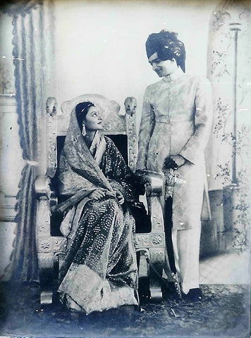 Maharani Gayatri Devi and Maharaja Sawai Man Singh II as newly weds