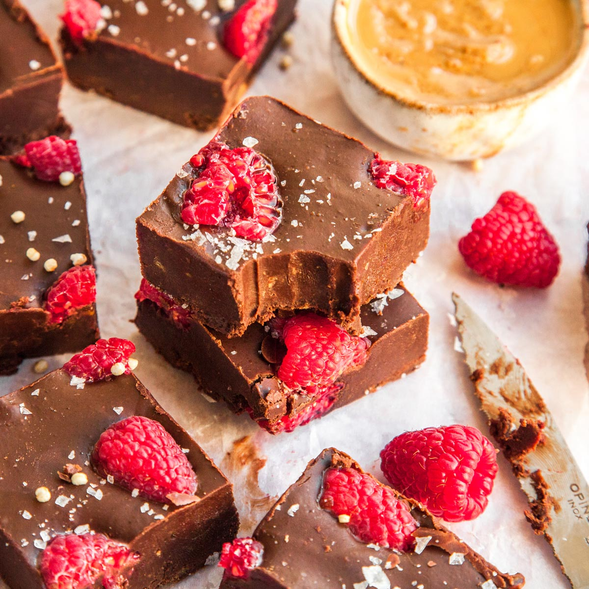 Chocolate peanut butter and raspberry fudge