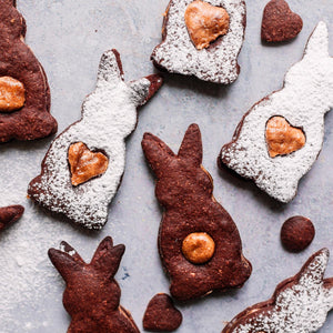 Easter chocolate and peanut butter sandwich cookies