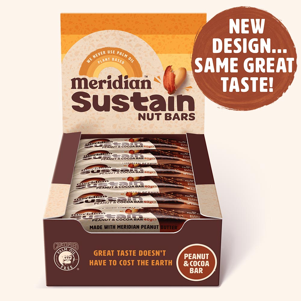 An image of Meridian Sustain Peanut & Cocoa Nut Bar 18 x 40g