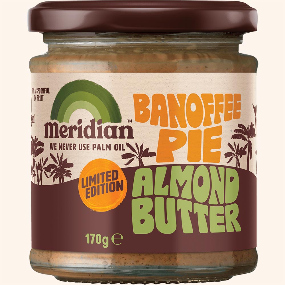 An image of Meridian Banoffee Pie Almond Butter 170g Jar - New Limited Edition