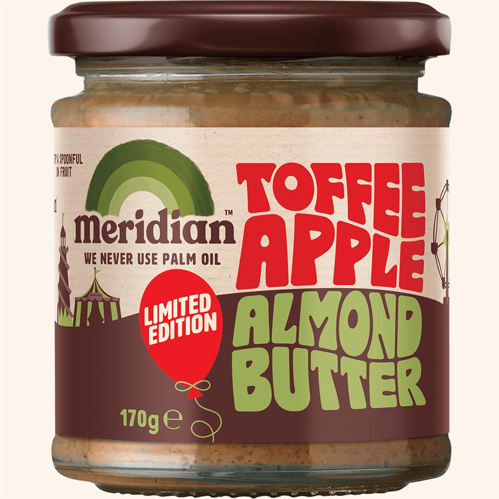 An image of Meridian Toffee Apple Almond Butter 170g Jar - New Limited Edition