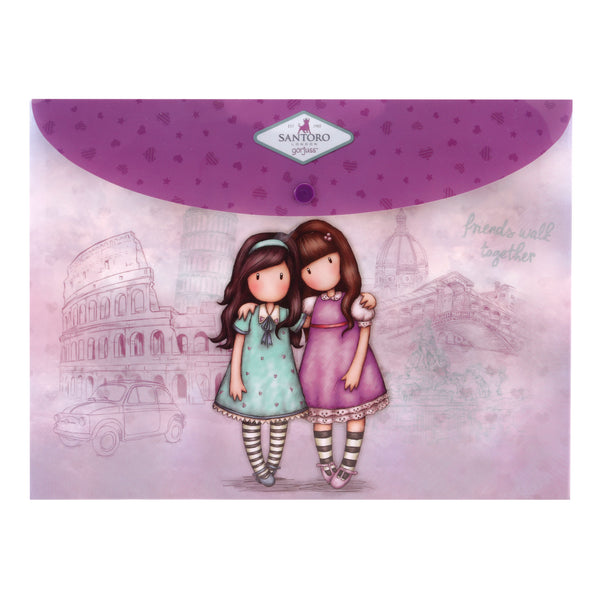 A4-es mappa - két darabos - Gorjuss Cityscape - Friends Walk Together -Time to Fly