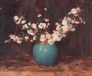Apple blossoms in a turquoise ginger jar - Oil on canvas painting by Frans David Oerder (South African 1867-1944)