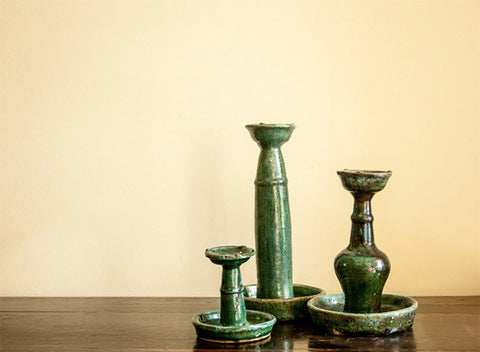 Turquoise antique candle holders