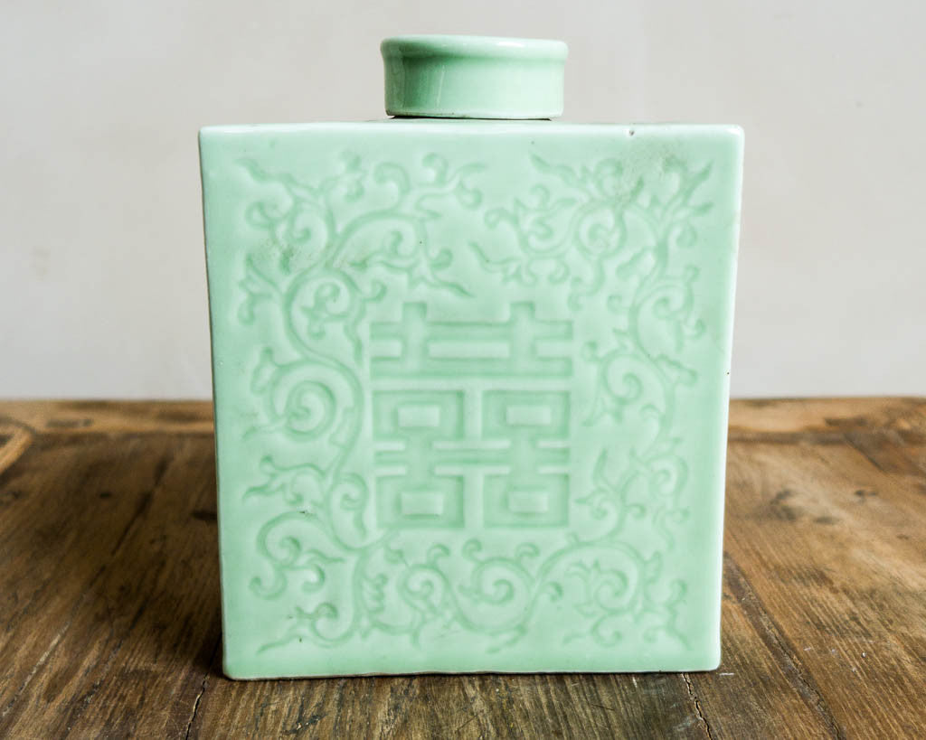 Decorative light green porcelain pot - Decorative pottery