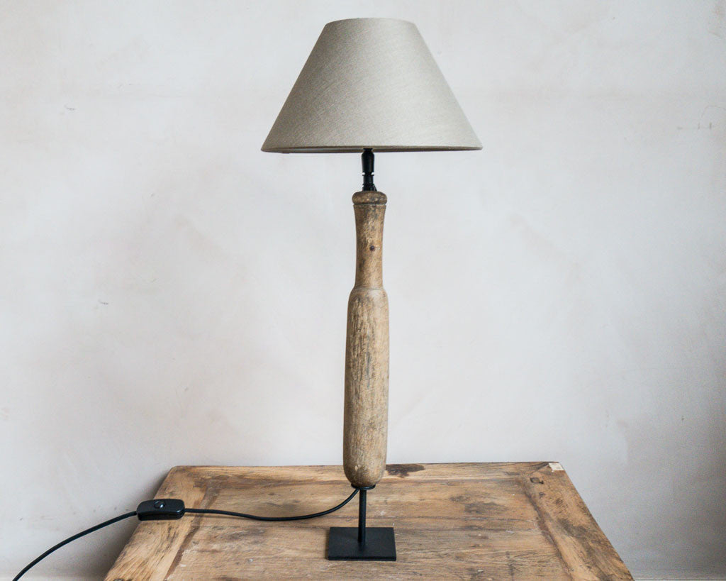 Wooden wash beater lamp - Unique Country Chic interiors