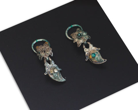 Silver authentic earrings from the Miao minority - SERES Collection  - 1
