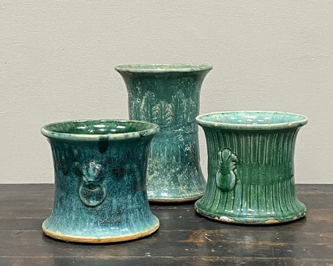 Turquoise/green glazed pot