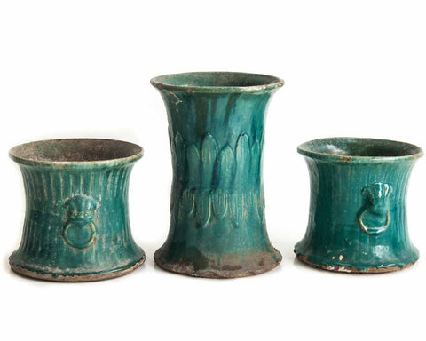 Turquoise/green glazed pot - SERES Collection  - 1