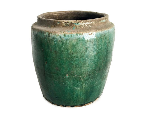 Turquoise/green glazed straight open pot - SERES Collection  - 1