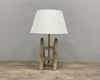 Rustic lamp made of an old weaving tool bobbin - Country Chic interiors