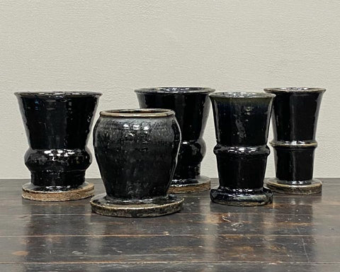 Glazed wide footed pots