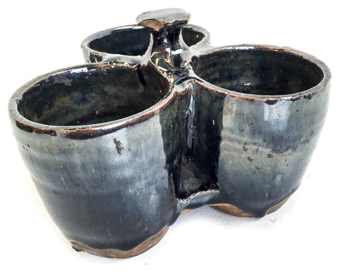 Glazed triple pot with knob - SERES Collection  - 1