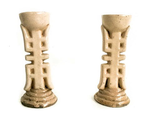 Pair of antique Chinese 'longevity' oil candle holders - SERES Collection  - 1