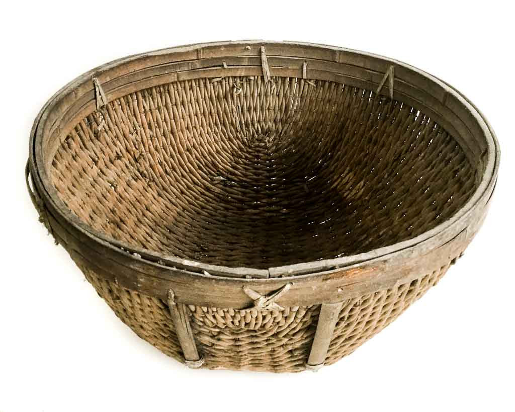 Woven Disc Basket : Old chinese wicker woven basket country interiors