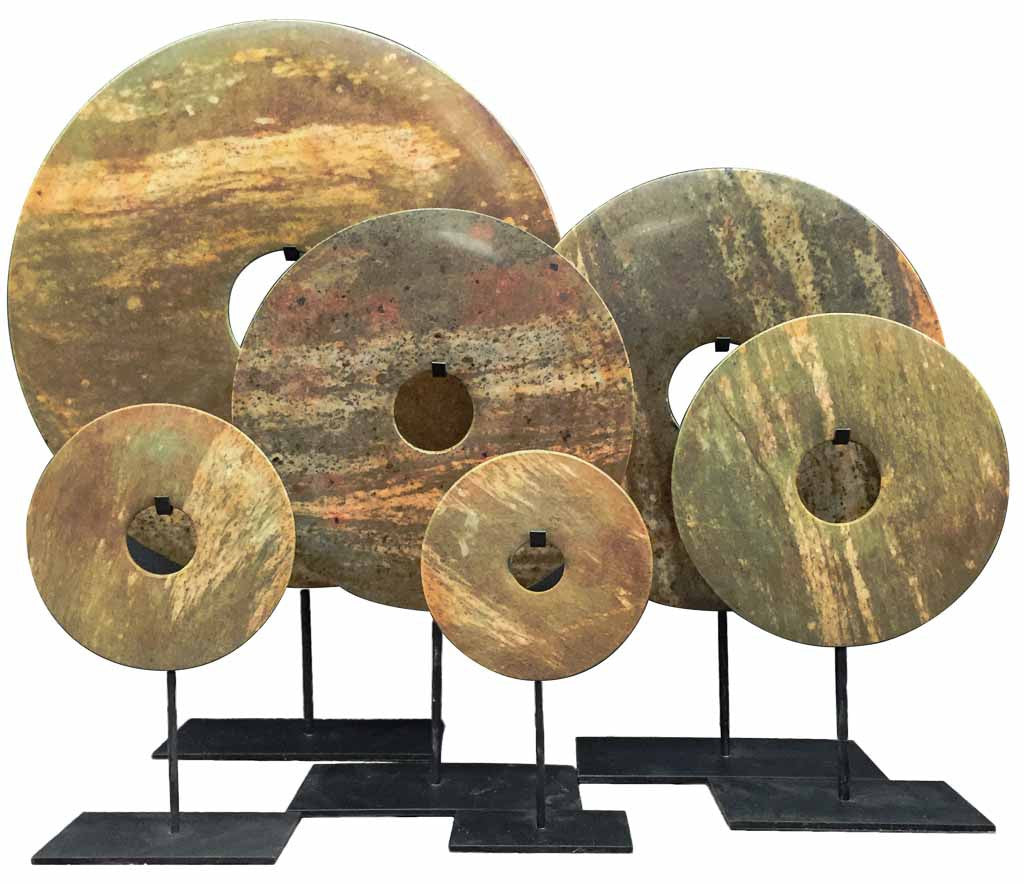 Bi-disc in Yellow Brown Green tones - Asian home decorations