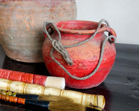 Red weathered pot