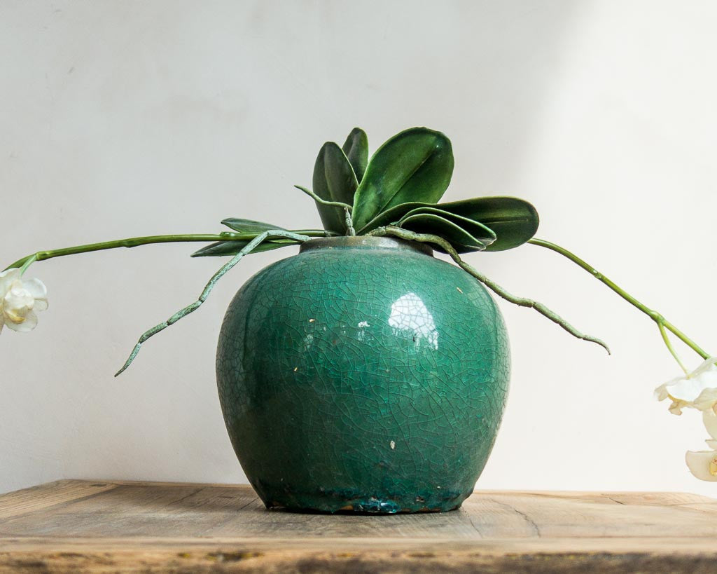 Green glazed round ginger pots - Antique look