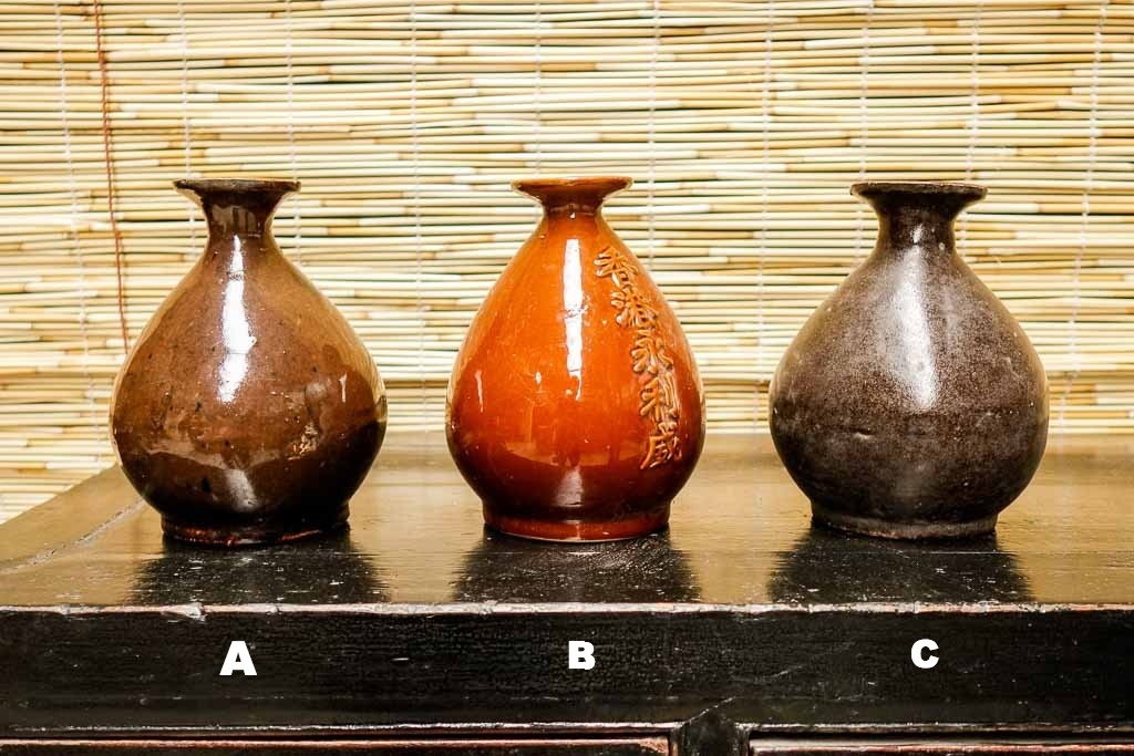 Old black rice wine bottles - Home decorations