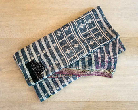 Kantha throw - old blue - SERES Collection  - 1