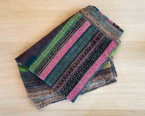 Kantha throw - purple green gold silk - SERES Collection  - 1