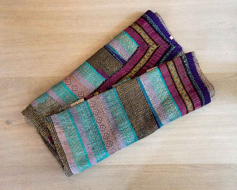 Kantha throw - blue pink gold silk - SERES Collection  - 1