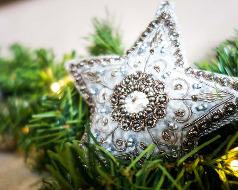 Christmas balls - Velvet star with silver thread - SERES Collection  - 1