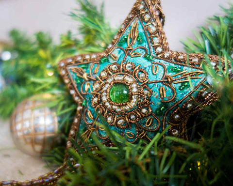 Christmas balls - Brocade Star in different colours - SERES Collection  - 1