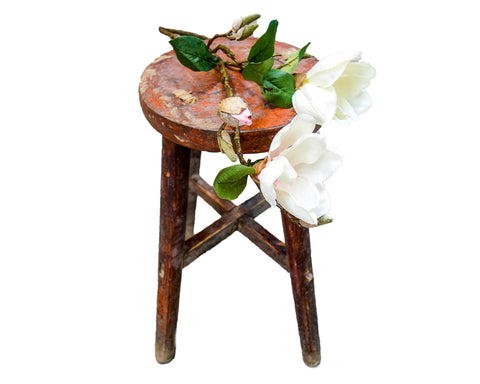 Vintage weathered round stool