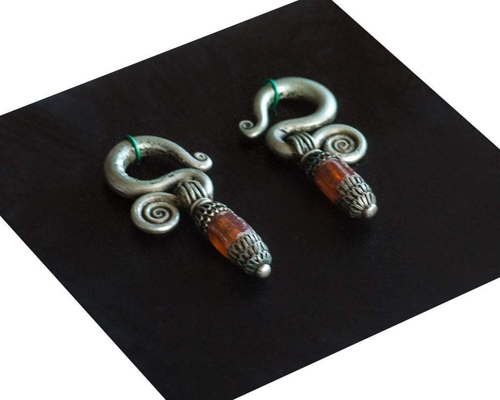 Rare spiral Miao earrings - Ethnic Jewelry