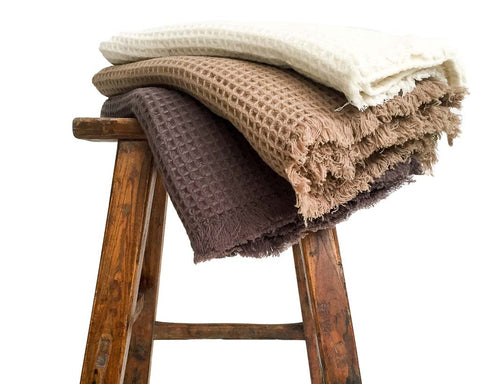 Supersoft 100% Cashmere Waffle Weave blanket/throw - SERES Collection  - 1