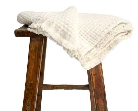 Large off-white Hasa Weave blanket/throw with sheep, yak wool and cashmere - SERES Collection  - 1