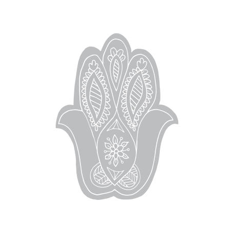 Dilli Grey illustration of an artisan carved hand block hamsa