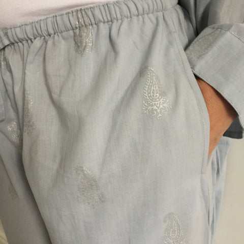 cotton women's pyjamas in grey hand block print