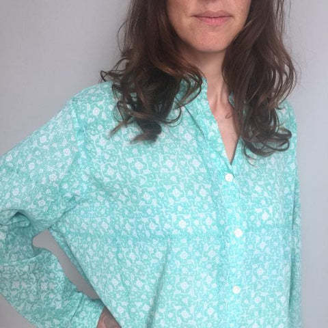 ethically sourced cotton nightdress, oversized boyfriend shirt - hand block printed in Jaipur, India