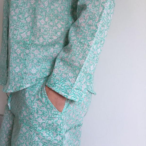 ethical cotton pyjama set - hand block printed in Jaipur, India