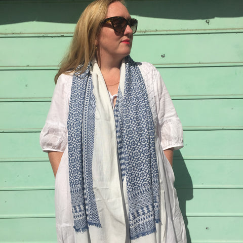 blue and white scarf cotton ethical fashion