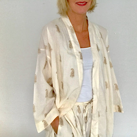 cream cotton sleepwear dressing gown kimono
