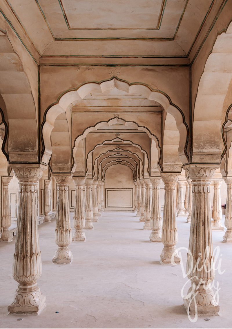 India Icons Series: Amer Fort Print - Dilli Grey