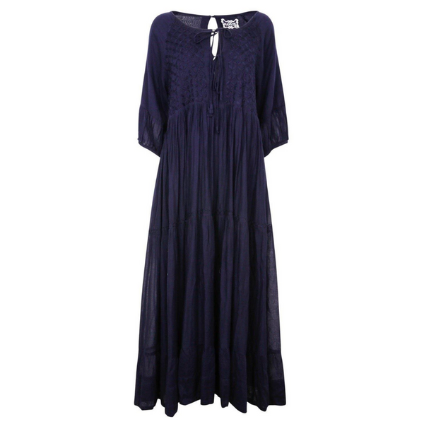 Chikankari-embroidered maxi dress in midnight blue - Dilli Grey